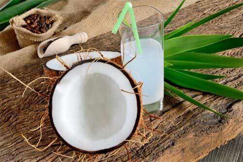 Kokosnuss und Kokosnusswasser